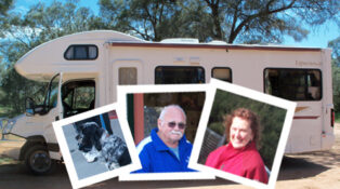 Marg, Leon and Chad enjoy travels in their Winnebago