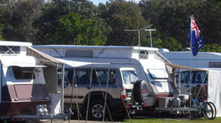Grey nomads crowded camping