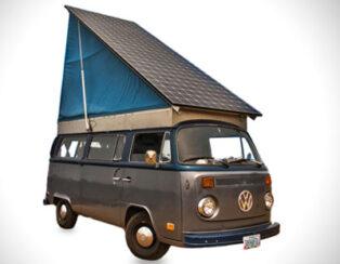 Brett Belen is aiming to harvest enough power from the sun to run his campervan. PIC:  Brett Belen
