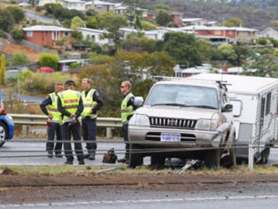 No one was injured in the caravan accident on the Tasman Highway. PIC: Richard Jupe/The Mercury