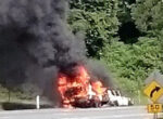 Caravan blaze on Cunningham Highway