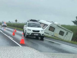 Caravan slides off the road