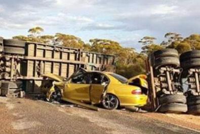 Overturned truck warning for grey nomads