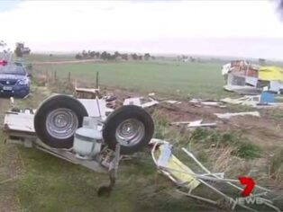 caravan destroyed in wind