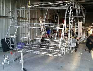 Grey nomad builds new caravan
