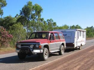 Grey nomads fight caravan towing road sway