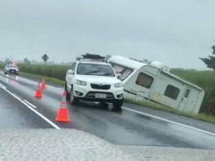 Caravan slides off the road