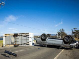 caravan rollover in high winds in Tasmania