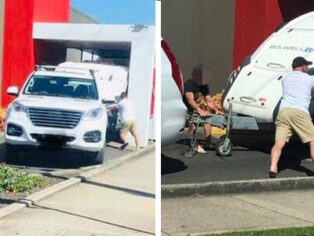 caravan stuck in KFC drive-thru